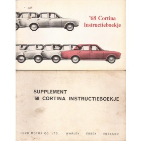 Ford Cortina Instructieboekje met supplement  Mk2 Benzine Fabrikant 68 met gebruikssporen Nederlands