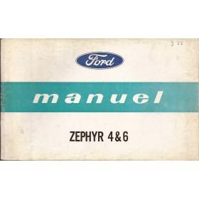 Ford Zephyr 4/6 Instructieboekje   Benzine Fabrikant 64 met gebruikssporen kaft los  Frans