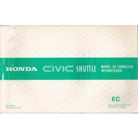 Honda Civic Shuttle Instructieboekje   Benzine Fabrikant 86 met gebruikssporen   Nederlands/Frans/Engels/Duits