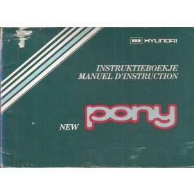 Hyundai Pony Instructieboekje   Benzine Fabrikant 84 met gebruikssporen 1 losse pagina  Nederlands/Frans