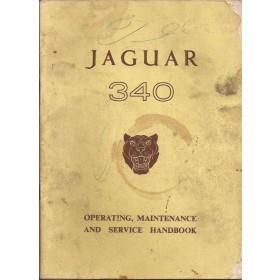 Jaguar 340 Instructieboekje   Benzine Fabrikant 62 c met gebruikssporen notities op kaft  Engels