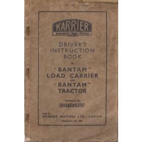 Karrier Bantam Instructieboekje   Benzine Fabrikant 50 met gebruikssporen beschadigde kaft  Engels