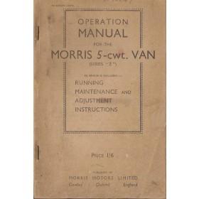 Morris 5-CWT Van Instructieboekje   Benzine Fabrikant 40 met gebruikssporen   Engels