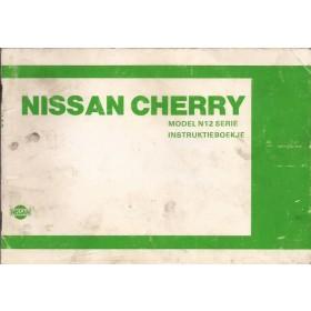 Nissan Cherry Instructieboekje  model N12 Benzine Fabrikant 84 met gebruikssporen notities op achterkaft  Nederlands