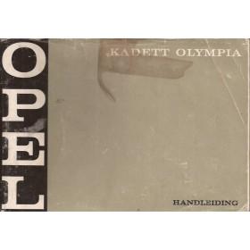 Opel Kadett B/Olympia Instructieboekje   Benzine Fabrikant 69 met gebruikssporen liggend model, vlek op kaft  Nederlands