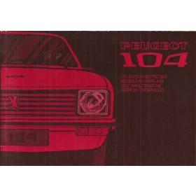 Peugeot 104 Instructieboekje   Benzine Fabrikant 72 ongebruikt   Nederlands/Duits/Frans/Italiaans