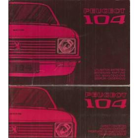 Peugeot 104 Instructieboekje   Benzine Fabrikant 74 ongebruikt met onderhoudsboekje  Nederlands/Duits/Frans/Italiaans