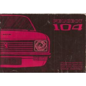 Peugeot 104 Instructieboekje   Benzine Fabrikant 74 met gebruikssporen   Nederlands/Duits/Frans/Italiaans