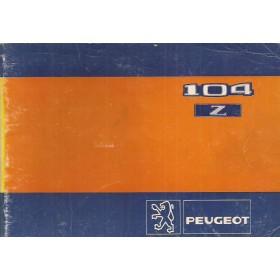 Peugeot 104 Z Instructieboekje   Benzine Fabrikant 81 met gebruikssporen   Nederlands