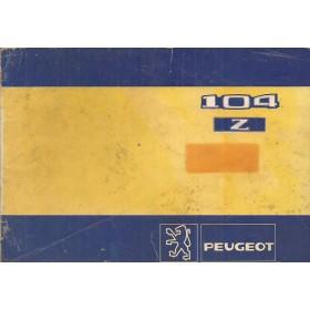 Peugeot 104 Z Instructieboekje   Benzine Fabrikant 83 met gebruikssporen kaft licht verkleurd  Nederlands