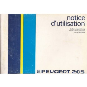 Peugeot 205 Instructieboekje   Benzine Fabrikant 86 ongebruikt   Nederlands/Duits/Frans/Italiaans