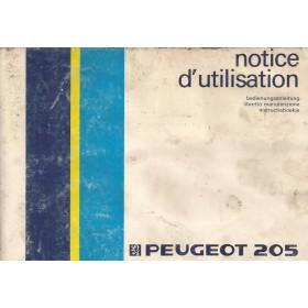 Peugeot 205 Instructieboekje   Benzine Fabrikant 86 met gebruikssporen   Nederlands/Duits/Frans/Italiaans