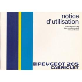 Peugeot 205 Cabriolet Instructieboekje   Benzine Fabrikant 86 ongebruikt   Nederlands/Duits/Frans/Italiaans