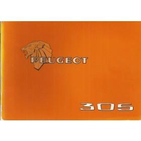 Peugeot 305 Instructieboekje   Benzine Fabrikant 78 ongebruikt folie kaft laat deels los  Nederlands/Duits/Frans/Italiaans