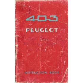 Peugeot 403 Instructieboekje   Benzine Fabrikant 60 met gebruikssporen rug gerepareerd  Engels
