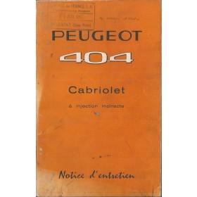 Peugeot 404 Cabriolet Instructieboekje   Benzine Fabrikant 62 met gebruikssporen   Frans