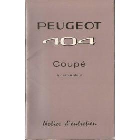 Peugeot 404 Coupe Instructieboekje   Benzine Fabrikant 63 ongebruikt   Frans
