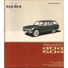Peugeot 504 Break/Familiale Instructieboekje   Benzine Fabrikant 73 ongebruikt met onderhoudsboekje  Nederlands