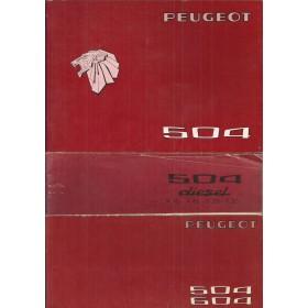 Peugeot 504 Instructieboekje   Benzine Fabrikant 76 ongebruikt met onderhoudsboekje en dieselsupplement  Nederlands/Duits/Frans/Italiaans