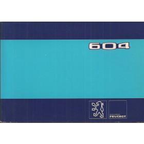 Peugeot 604 Instructieboekje   Benzine Fabrikant 80 ongebruikt   Frans/Engels/Spaans/Zweeds