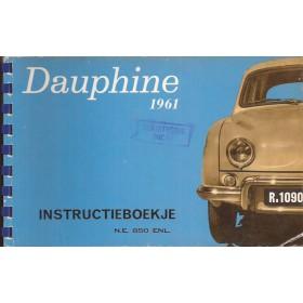 Renault Dauphine Instructieboekje   Benzine Fabrikant 61 met gebruikssporen   Nederlands