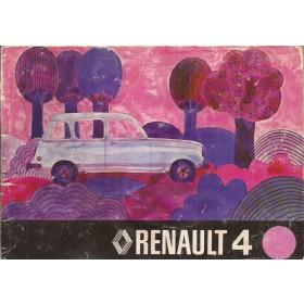Renault 4 Instructieboekje   Benzine Fabrikant 73 met gebruikssporen lichte vochtschade  Nederlands
