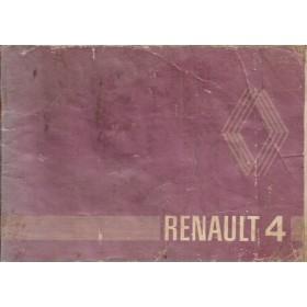 Renault 4 Instructieboekje   Benzine Fabrikant 80 met gebruikssporen lichte vochtschade  Nederlands