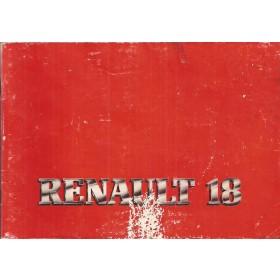 Renault 18 Instructieboekje   Benzine Fabrikant 81 met gebruikssporen   Nederlands