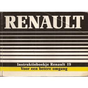 Renault 19 Instructieboekje   Benzine Fabrikant 88 met gebruikssporen   Nederlands