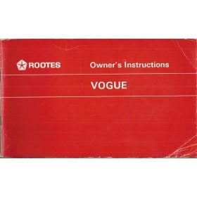 Rootes Vogue Instructieboekje   Benzine Fabrikant 66 ongebruikt   Engels