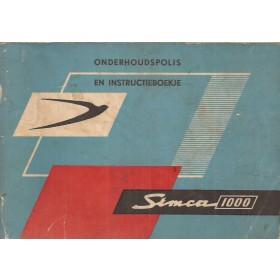 Simca 1000 Mk1 Instructieboekje   Benzine Fabrikant 65 met gebruikssporen   Nederlands