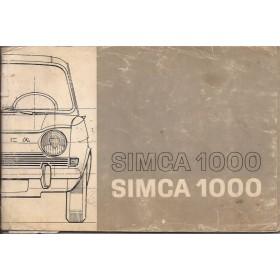 Simca 1000 Instructieboekje   Benzine Fabrikant 69 met gebruikssporen kaft beschadigd  Nederlands