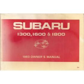 Subaru 1300/1600/1800 Instructieboekje   Benzine Fabrikant 83 met gebruikssporen   Engels