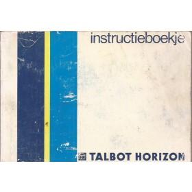 Talbot Horizon Instructieboekje   Benzine Fabrikant 86 met gebruikssporen   Nederlands