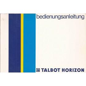 Talbot Horizon Instructieboekje   Benzine Fabrikant 86 ongebruikt   Duits