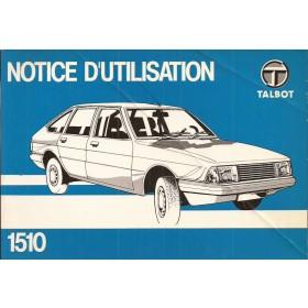 Talbot 1510 Instructieboekje   Benzine Fabrikant 80 ongebruikt vouw in kaft  Frans