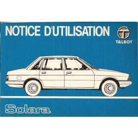 Talbot Solara Instructieboekje   Benzine Fabrikant 80 ongebruikt   Frans