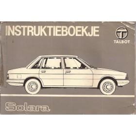 Talbot Solara Instructieboekje   Benzine Fabrikant 80 met gebruikssporen rug gerepareerd, lichte vochtschade  Nederlands