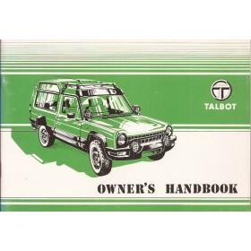 Talbot Rancho Instructieboekje   Benzine Fabrikant 82 ongebruikt   Engels