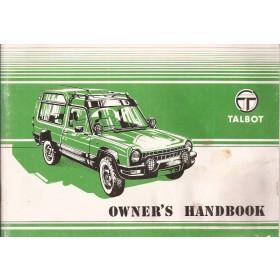 Talbot Rancho Instructieboekje   Benzine Fabrikant 82 met gebruikssporen lichte vochtschade  Engels