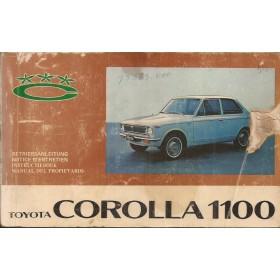 Toyota Corolla Instructieboekje  Mk1 1100 Benzine Fabrikant 68 met gebruikssporen hoekje uit kaft  Nederlands/Duits/Frans/Spaans