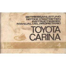 Toyota Carina Instructieboekje   Benzine Fabrikant 72 met gebruikssporen   Nederlands/Duits/Frans/Spaans