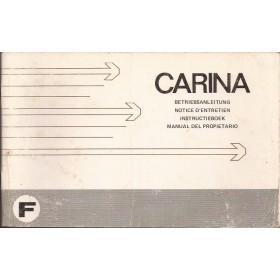 Toyota Carina Instructieboekje   Benzine Fabrikant 74 met gebruikssporen   Nederlands/Duits/Frans/Spaans