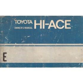 Toyota Hi-Ace Instructieboekje   Benzine Fabrikant 74 met gebruikssporen   Engels
