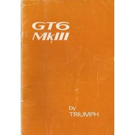 Triumph GT6 Instructieboekje  Mk3 Benzine Fabrikant 71 met gebruikssporen   Engels