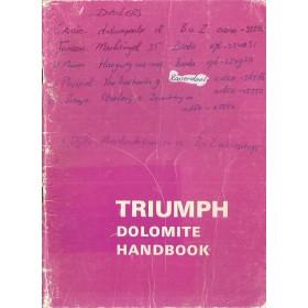Triumph Dolomite Instructieboekje   Benzine Fabrikant 75 met gebruikssporen notities op kaft  Engels