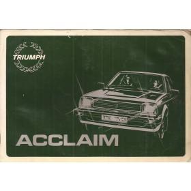 Triumph Acclaim Instructieboekje   Benzine Fabrikant 82 met gebruikssporen   Nederlands