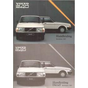 Volvo 240 Instructieboekje   Benzine/Diesel Fabrikant 87 met gebruikssporen met dieselsupplement, in originele map  Nederlands