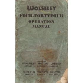 Wolseley 4/44 Instructieboekje   Benzine Fabrikant 54 met gebruikssporen beschadigde kaft  Engels