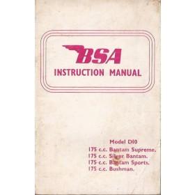 BSA Bantam 175cc/Bushman 175cc Instructieboekje  Model D10 Benzine  67 met gebruikssporen   Engels